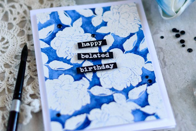 Watercolor background with white heat embossing resist. With Altenew With Sympathy Stamp Set. Card by @craftwalks. #card #altenew #embossing