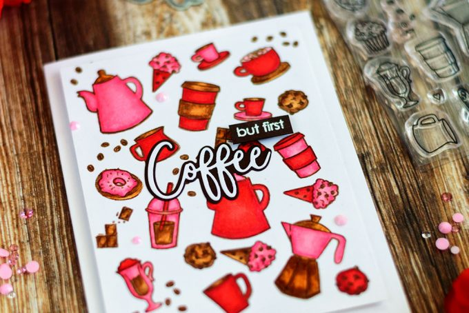 Coffee themed card with COPIC coloring in non-traditional color scheme. Stamps from Studio Katia. Card by @craftwalks. #card #cardmaking #handmade #coffee