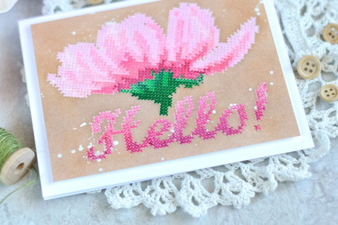 Altenew Cross Stitch Flower. Pink on Kraft. Card by @craftwalks. #card #handmadecard #altenew #crossstitch