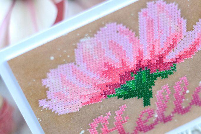 Altenew Cross Stitch Flower. Pink on Kraft. Card by @craftwalks. #card #handmadecard #altenew #crossstitch