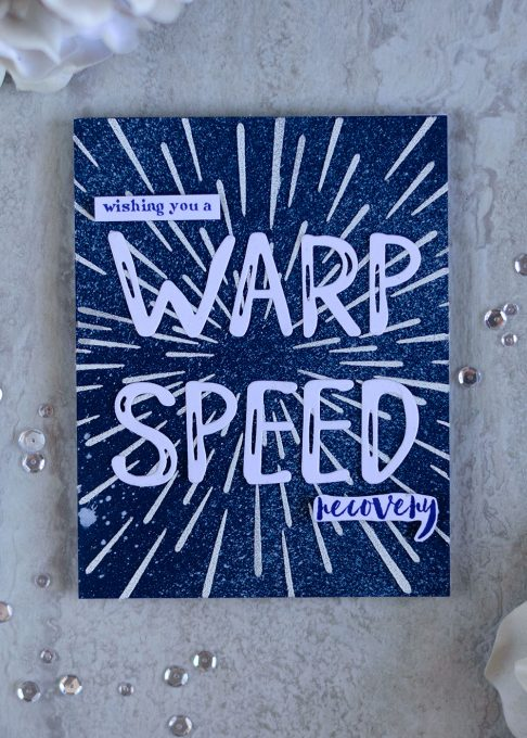 Wishing you a warp speed recovery. With Altenew Warp Speed Stencil. Card by @craftwalks. #card #cardmaking #altenew #stencil #warpspeed