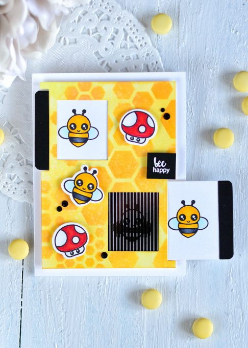 Modified Motion Crafts Double Slider and Bee Happy Stamp Set. Card by @craftwalks. #card #interactivecard #handmadecard #motioncrafts #slidercard #slider