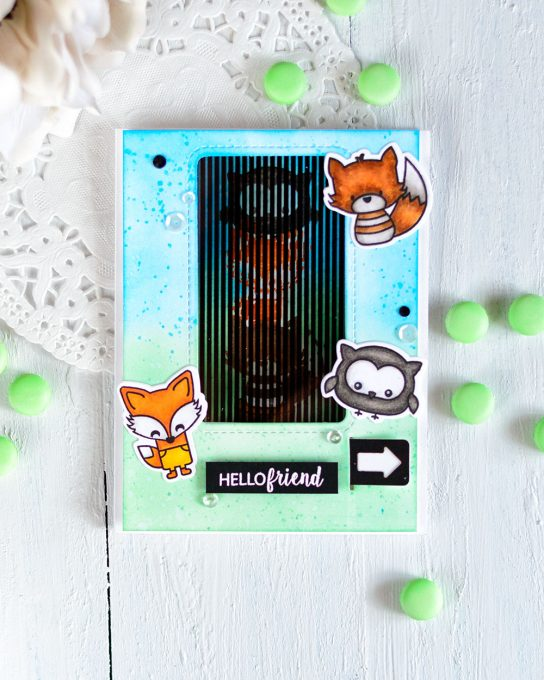 Modified Motion Crafts Pull Slider and Fox and Friends Stamp Set. Card by @craftwalks. #card #interactivecard #handmadecard #motioncrafts #slidercard #slider