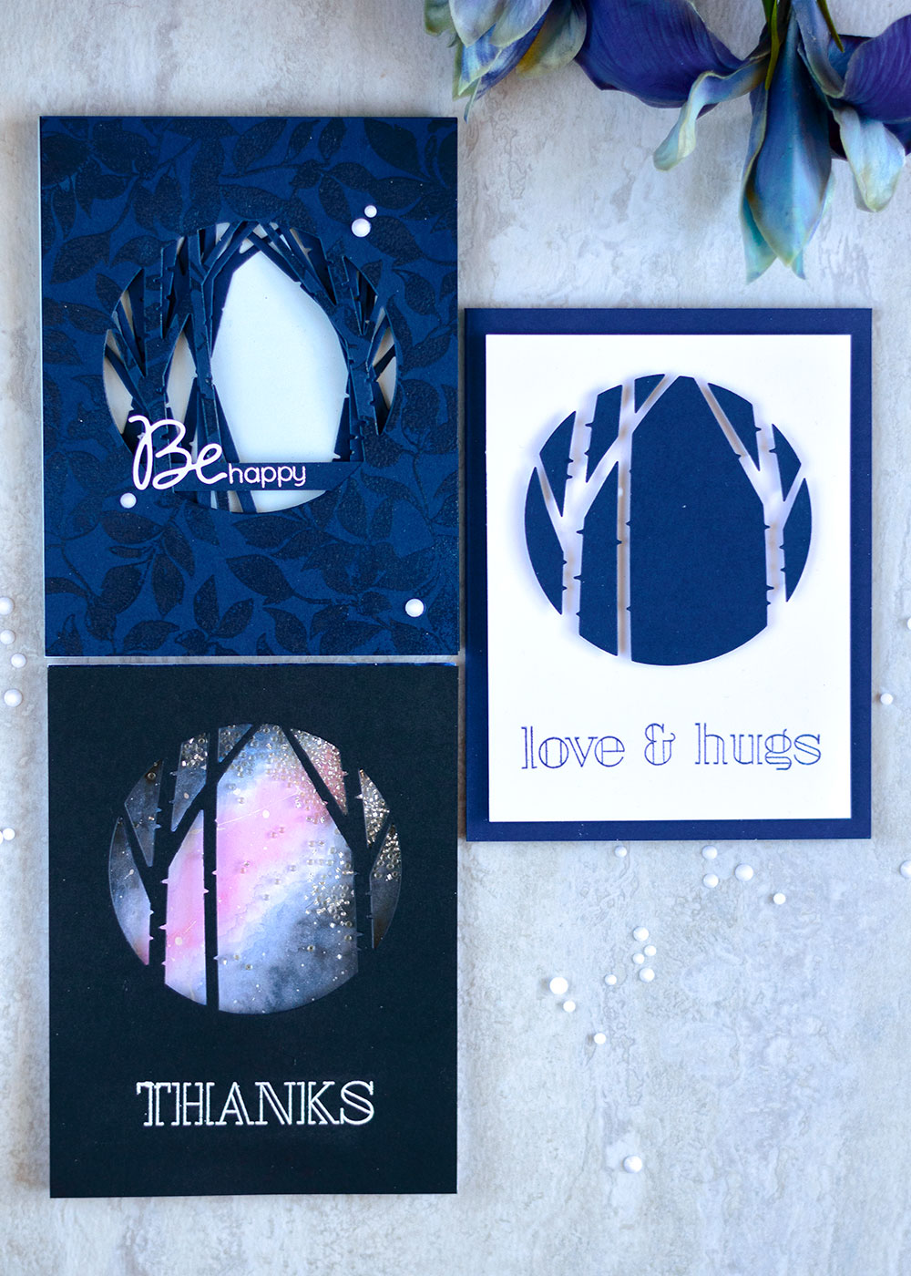 Simon Says Stamp Birch Circle Die - three ways. Projects by @craftwalks #card #simonsaysstamp #sss #cardmaking