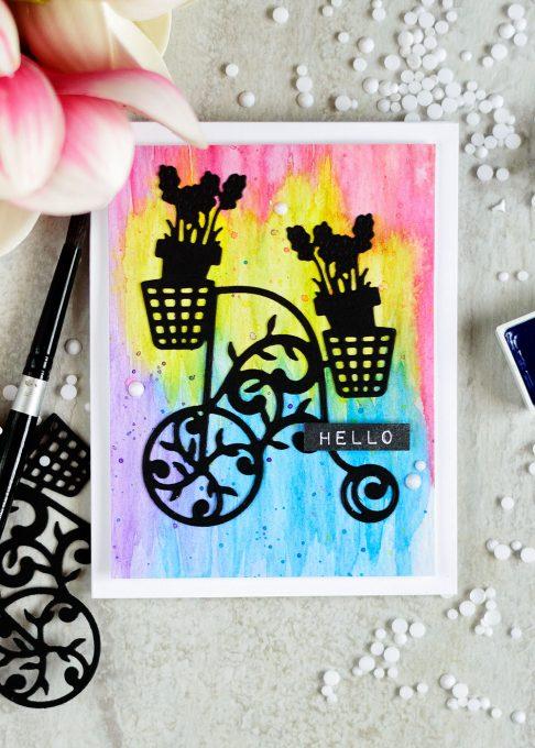 Spellbinders Lavender Trike Die. Card by @craftwalks. #card #cardmaking #spellbinders #die-cutting #watercolor