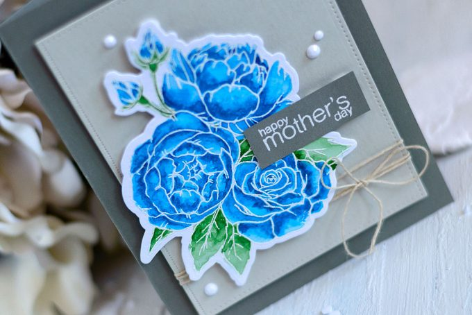 Elegant Mother's Day card with Studio Katia Spring Bouquet. Card by @craftwalks #card #handmadecard #cardmaking #watercolor #mothersday #mothersdaycard