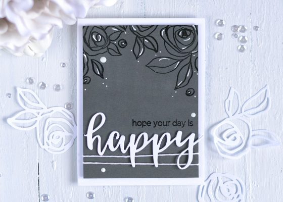ray Monochromatic Card with Altenew Bamboo Rose. Card by @craftwalks #card #cardmaking #altenew #papercrafts #handmadecards #embossing #graypalette