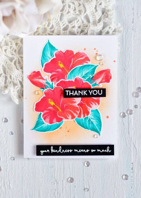 Altenew Build-A-Flower Hibiscus. Tropical Bouquet. Card by @craftwalks #card #handmadecards #altenew #hibiscus #stamping
