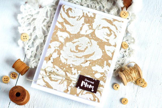Mother's Day card with Altenew Painted Rose. White Embossing on Kraft. Card by @craftwalks. #card #cardmaking #altenew #mothersday #handmadecard #papercrafts