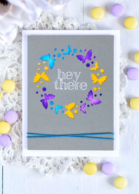 Colorful butterfly circle on dark gray background. Simon Says Flickering Butterfly Circle. Card by @craftwalks. #card #cardmaking #sss #simonsaysstamp #handmadecard #papercrafts