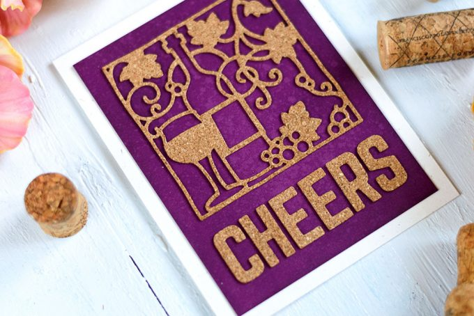 Cheers cards using cork paper and Spellbinders Wine Snippets. Card by @craftwalks. #card #spellbinders #cardmaking #cork #wine