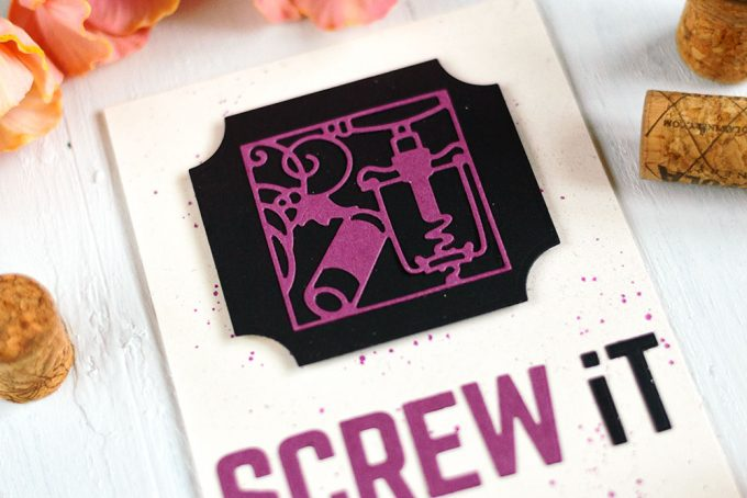 Screw It card using cork paper and Spellbinders Wine Snippets. Card by @craftwalks. #card #spellbinders #cardmaking #cork #wine