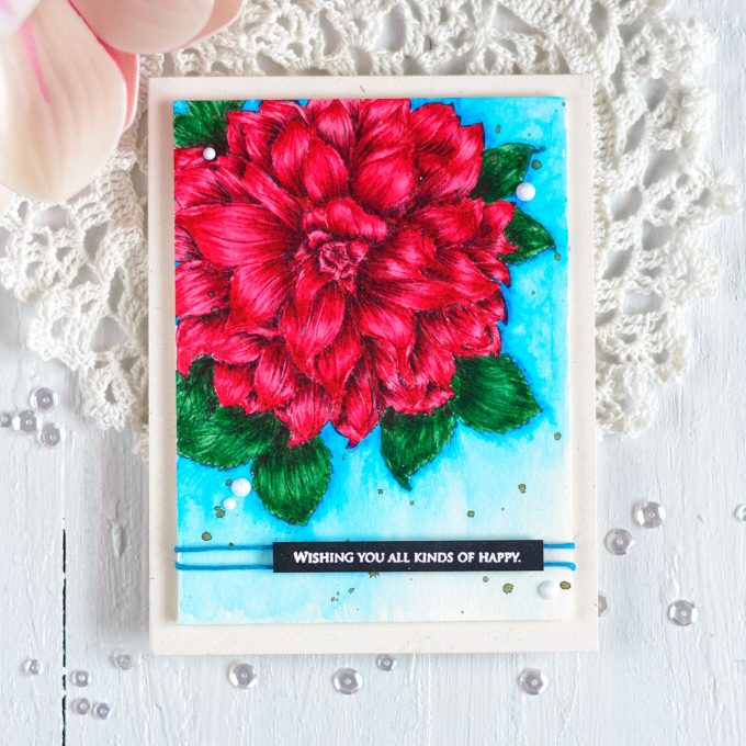 The Ton Large Dahlia colored with Arteza markers. Card by @craftwalks.#theton #thetonstamps #card #cardmaking #artezamarkers #dahlia #handmadecards