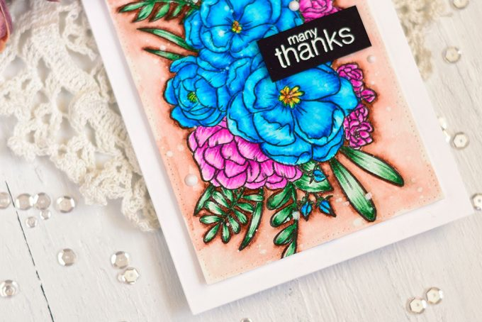 Studio Katia Lovely Blooms, colored with Arteza Watercolor Markers. Card by @craftwalks. #card #cardmaking #handmadecard #studiokatia #arteza #artezamarkers