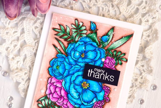 Studio Katia Lovely Blooms, colored with Arteza Watercolor Markers. Card by @craftwalks. #card #cardmaking #handmadecard #studiokatia #arteza #artezamarkers