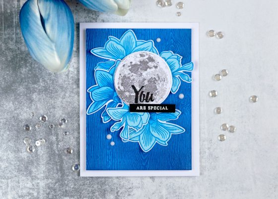 Altenew Inspiration Challenge. Card by Svitlana Shayevich. To The Moon, Build-A-Flower Magnolia Stamp Sets.