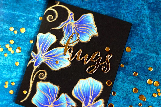 Altenew Sweetest Peas, blue with gold on black. Colored with markers. Card by @craftwalks. #cards #cardmaking #handmade #diy #altenew #stamps #homemade
