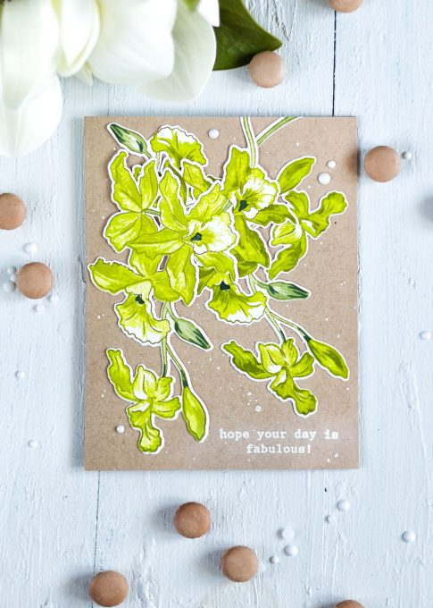 Altenew Build-A-Flower: Cattleya. Card by Svitlana Shayevich @craftwalks. #card #cardmaking #altenew #altenewcattleya #altenewbaf #handmade #diy #handmadecards