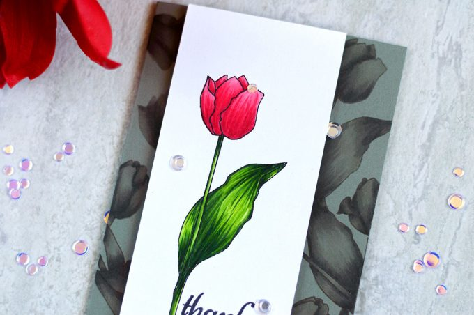 Altenew Tulip Colored with Artist Markers. Card by Svitlana Shayevich