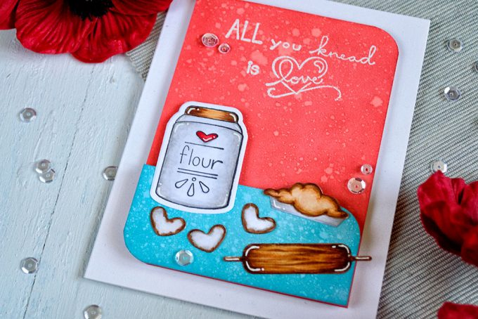 All you knead is love. Spellbinders Flour Power. Distress Oxide background. Card by Svitlana Shayevich