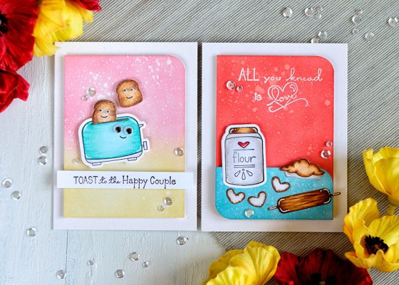 Spellbinders Flour Powder and Toast With Jam'n Bread. Distress Oxide backgrounds. Cards by Svitlana Shayevich