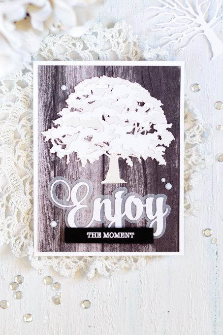 Spellbinders layered Oak Tree. White on Woodgrain. Card by Svitlana Shayevich