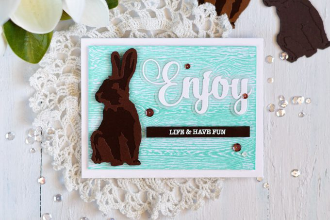 Spellbinders Layered Rabbits. Chocolate with mint. Card by Svitlana Shayevich