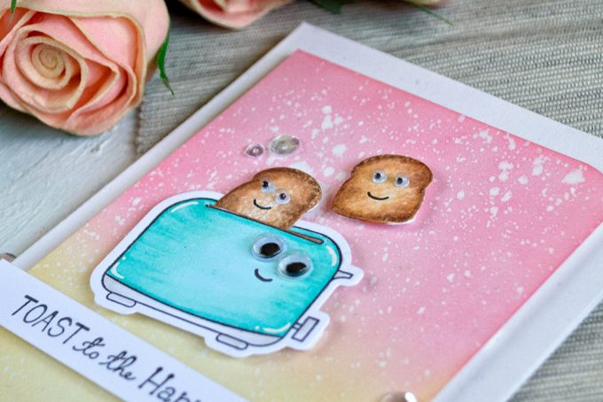Toast to the happy couple. Spellbinders Toast With Jam'n Bread. Distress Oxide backgrounds. Card by Svitlana Shayevich