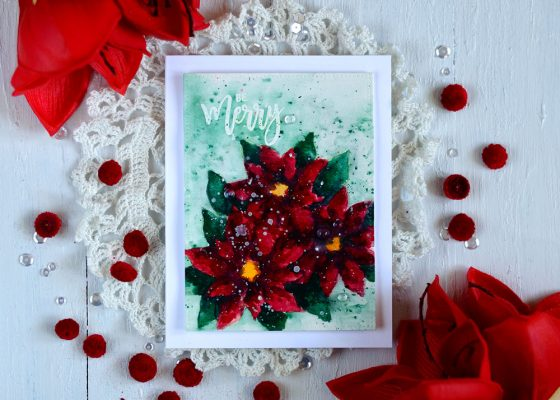 Watercolor Poinsettia. Stamps from Studio Katia. Card by Svitlana Shayevich.