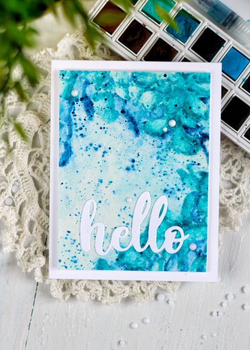 Altenew Watercolor 36 Pan Set. Build-A-Flower Cattleya stamp. Card by Svitlana Shayevich