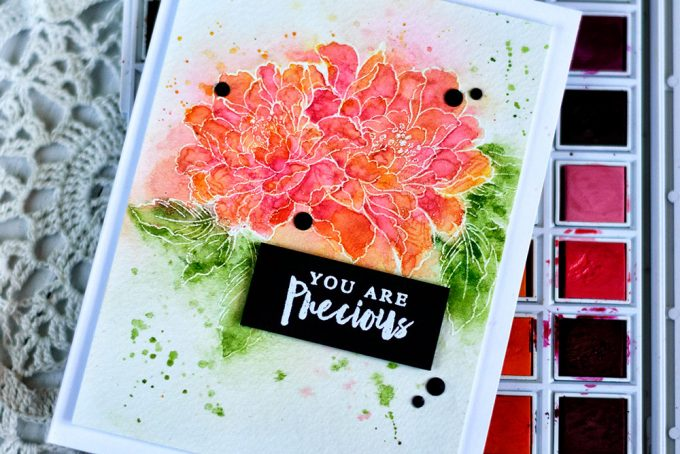 Altenew Watercolor 36 Pan Set. Build-A-Flower Coral Charm and Remember This Stamp Set. Card by Svitlana Shayevich
