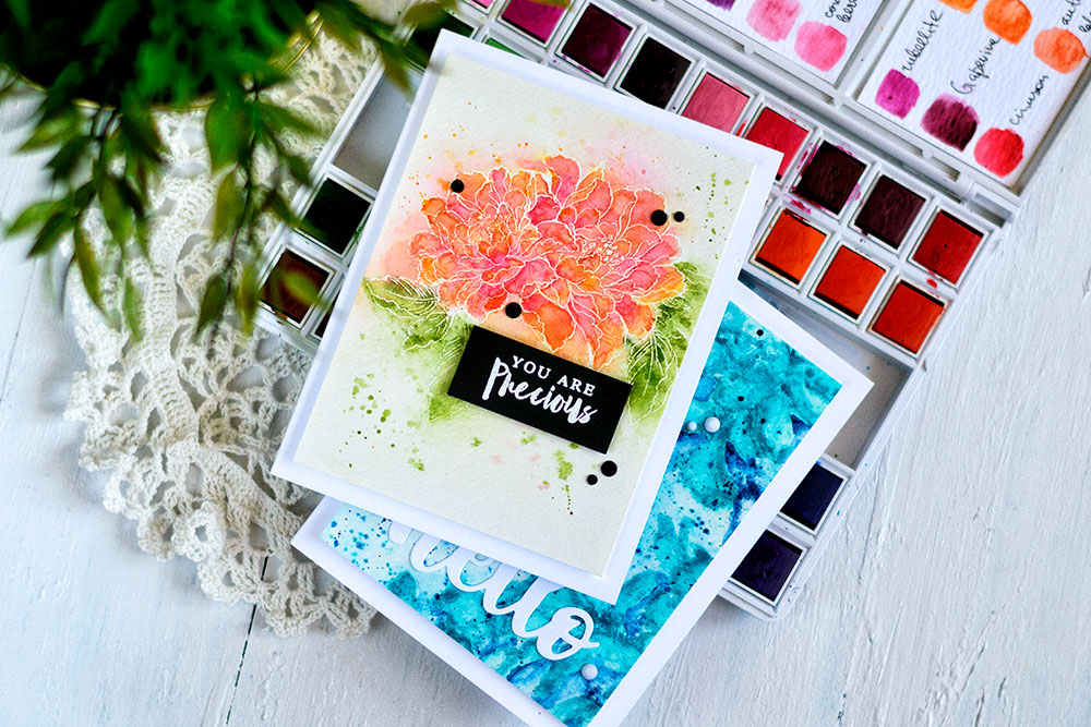 Altenew Watercolor Pan Set Release. Card by Svitlana Shayevich