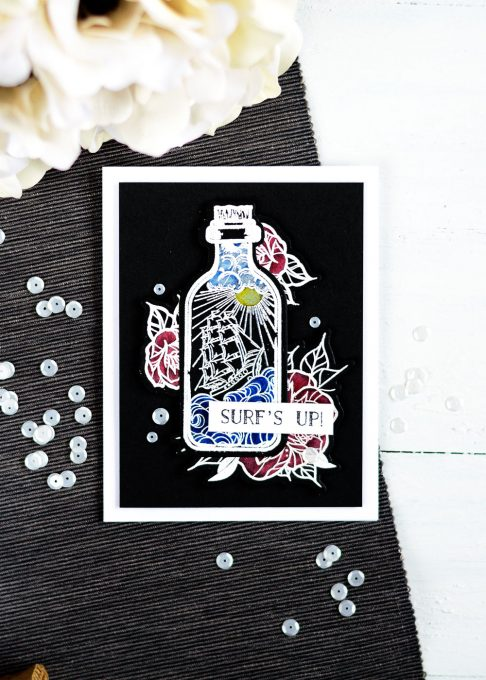 Spellbinbers Inked Messages by Stephanie Low. Message in a Bottle, A Rose Any Other Name Stamp and Die Sets. Chalkboard, coloring with polychromos pencils on black. Card by Svitlana Shayevich