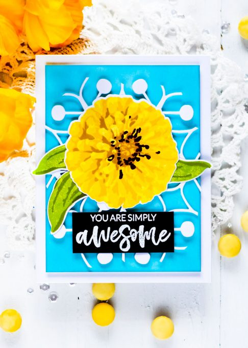 Altenew Build-A-Flower: Flourishing Zinnia. Card by Svitlana Shayevich