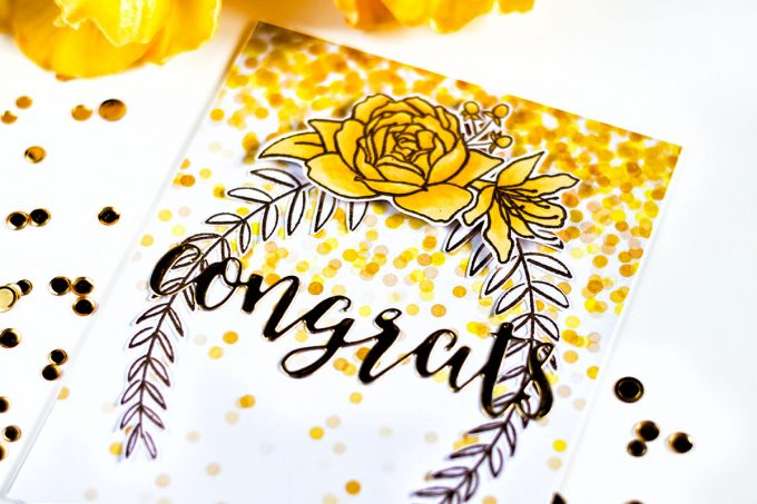 Altenew Celebrations Paper Set. Gold Confetti. Card by Svitlana Shayevich