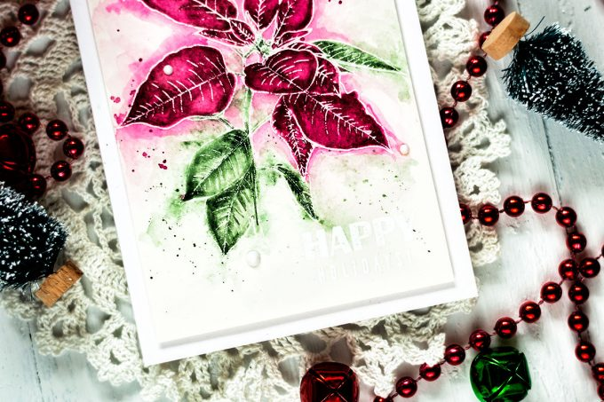 Altenew Festive Poinsettia. Card by Svitlana Shayevich