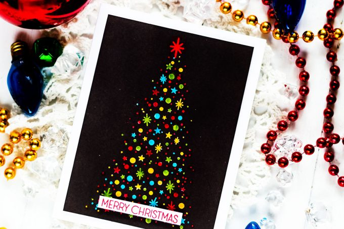 Altenew Starry Night. Multicolor Christmas Tree On Black. Card by Svitlana Shayevich