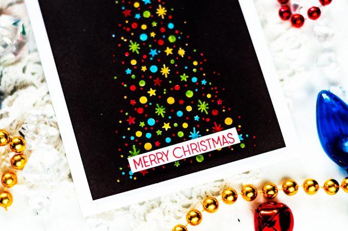 Altenew Starry Night. Multicolor Christmas Tree On Black. Card by Svitlana Shayevich