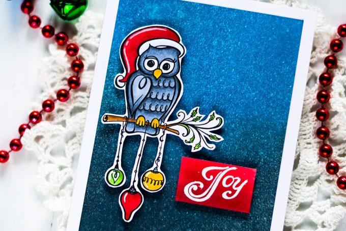 Spellbinders Zenspired Holidays. Christmas Owl. Card by Svitlana Shayevich