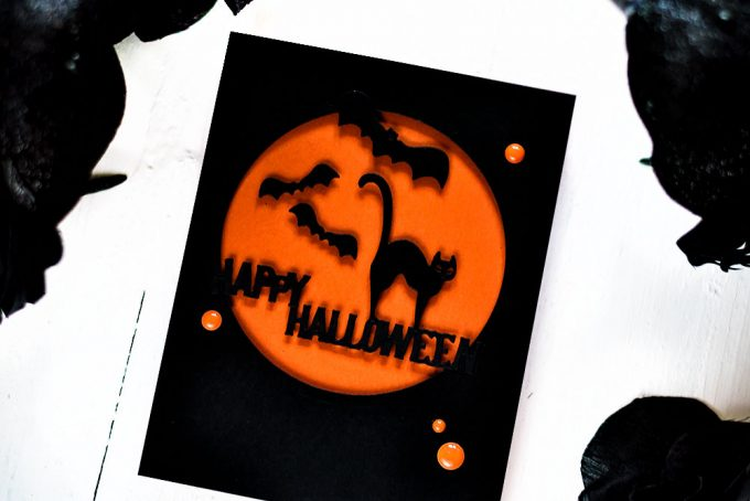 Spellbinders September Small Die Of The Month - Halloween. Orange Moon. Card by Svitlana Shayevich
