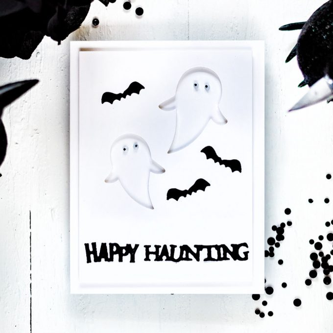 Spellbinders September Small Die Of The Month - Halloween. Black and white ghosts. Card by Svitlana Shayevich