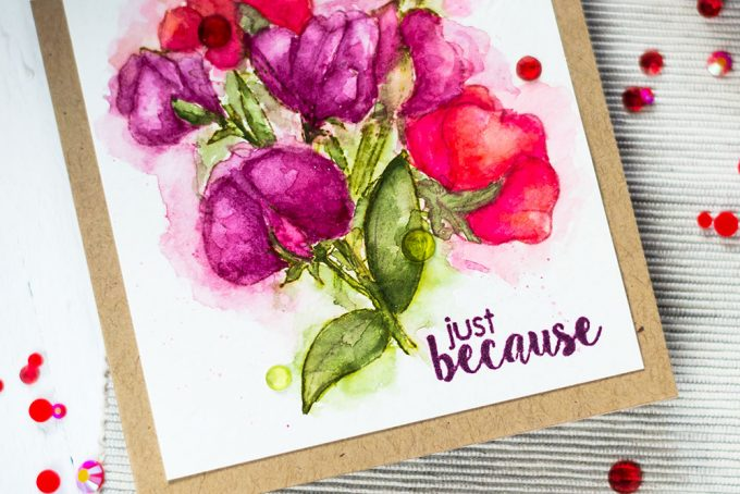 Studio Katia You're So Sweet. Watercolor Sweet Peas. Card by Svitlana Shayevich