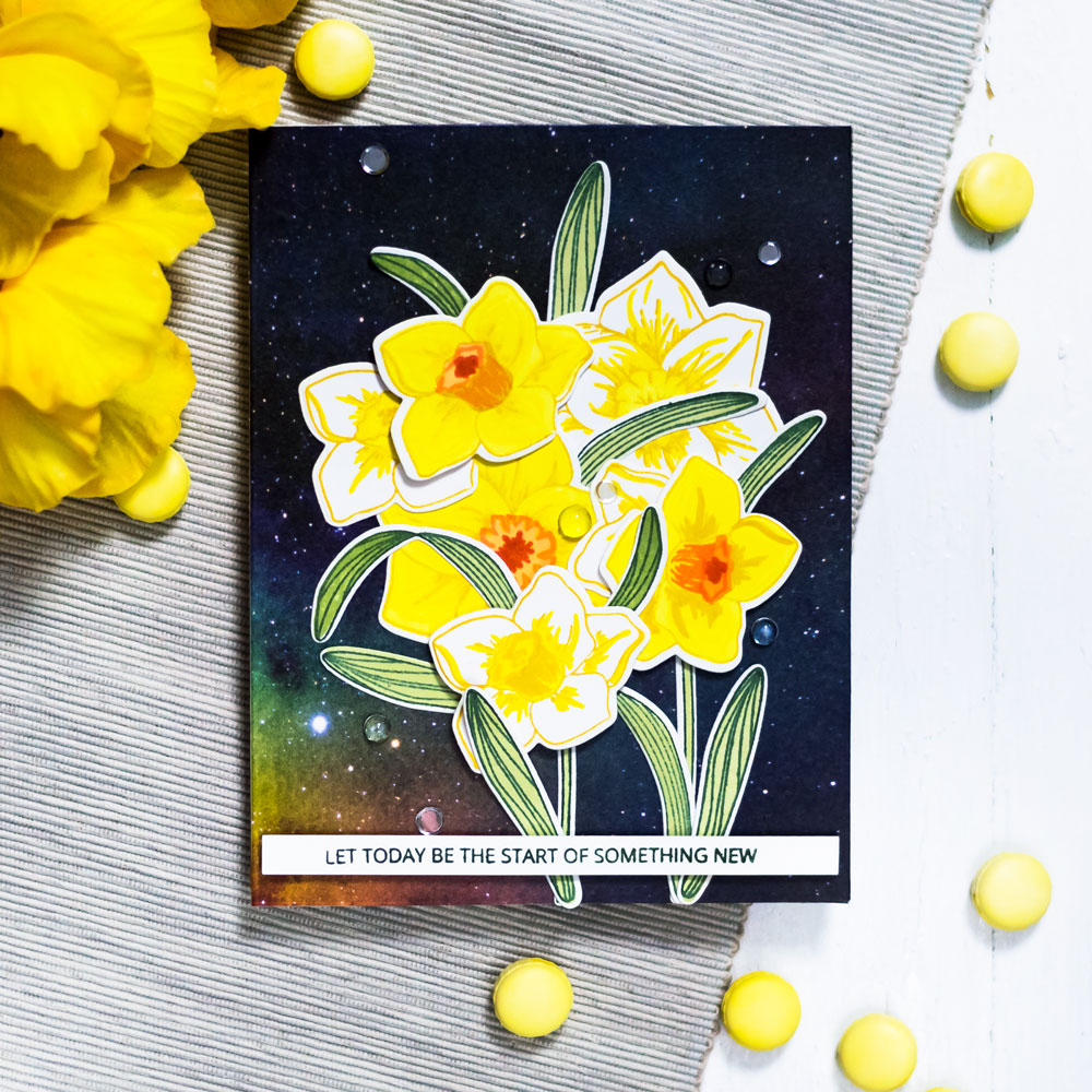 Altenew Build-A-Flower: Daffodil. Card by Svitlana Shayevich