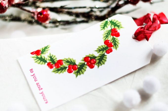 Christmas tag with Altenew Peaceful Wreath. Tag by Svitlana Shayevich
