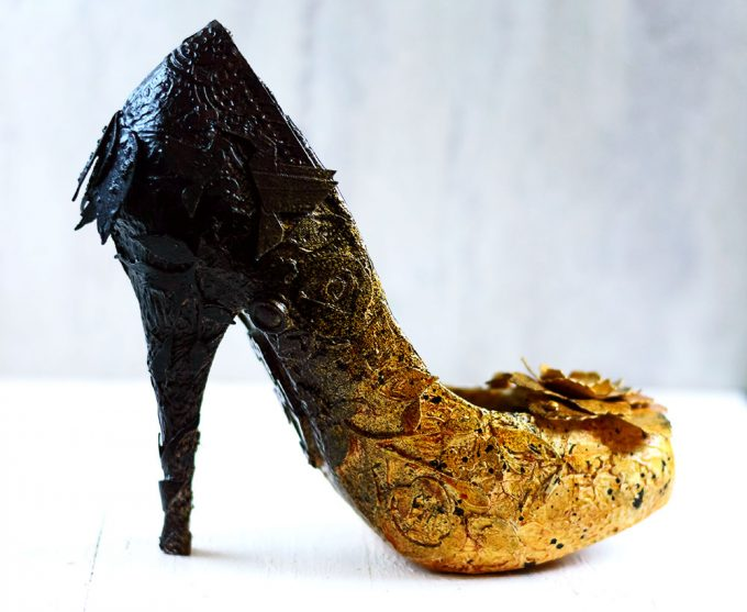 Altered Mixed Media black and gold shoe. Project by Svitlana Shayevich