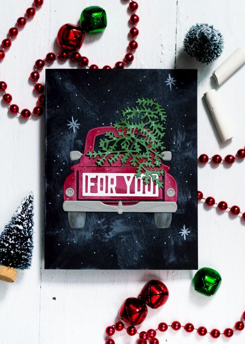 Spellbinders Large Die Of The Month. October - Christmas Tree Truck. Cards by Svitlana Shayevich