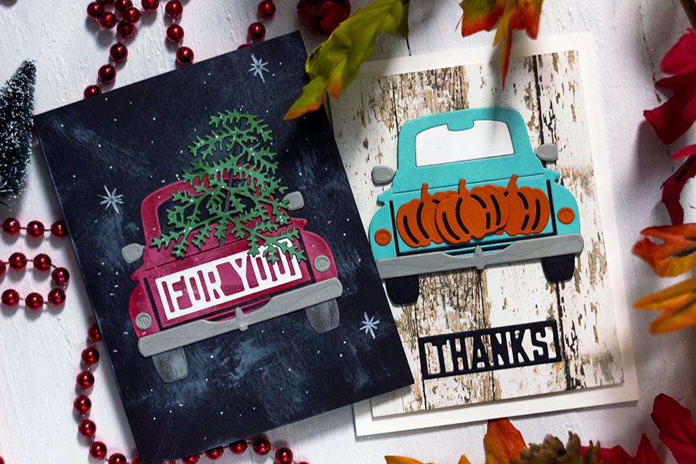 Spellbinders Large Die Of The Month. October - Truck for All Seasons. Cards by Svitlana Shayevich
