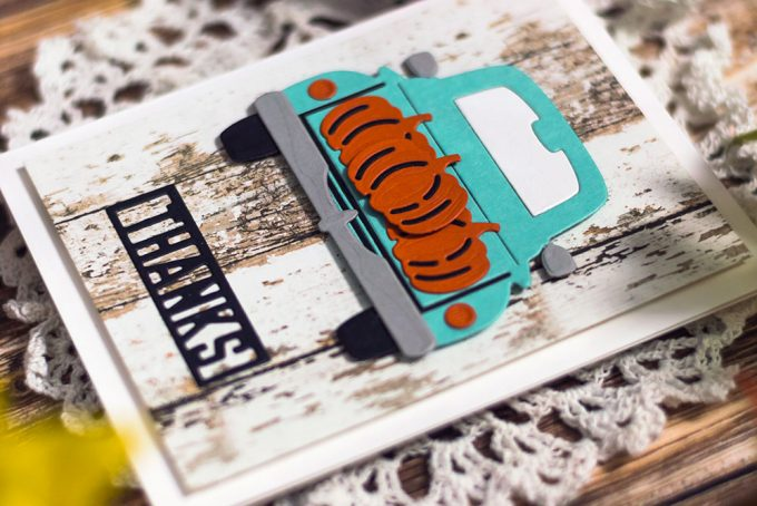 Spellbinders Large Die Of The Month. October - Pumpkin Truck. Cards by Svitlana Shayevich