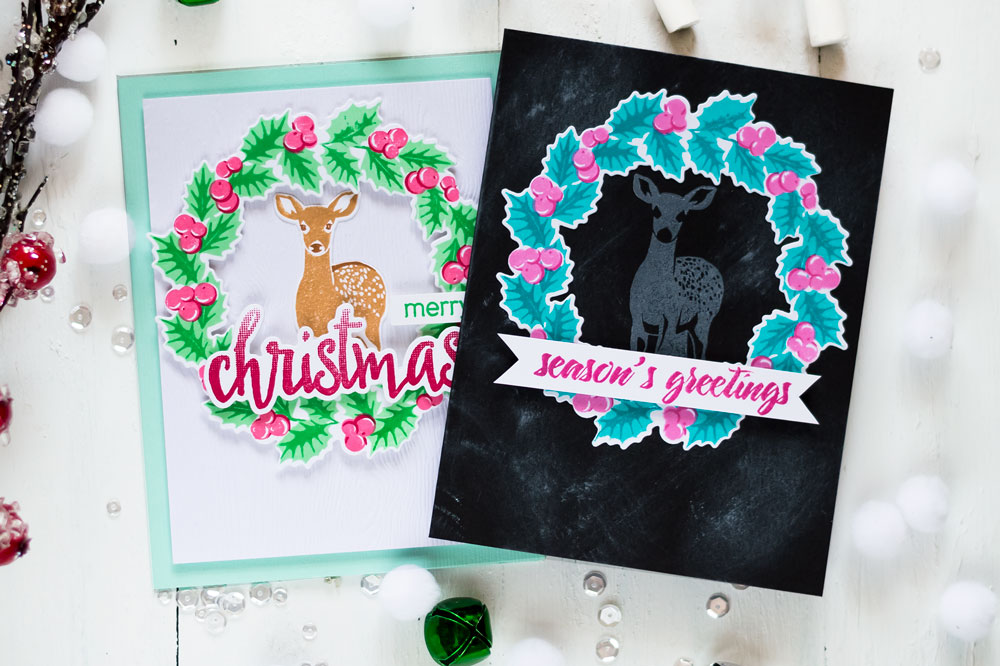 Holiday cards with Altenew Peaceful wreath, Modern Deer stamp sets. Card by Svitlana Shayevich