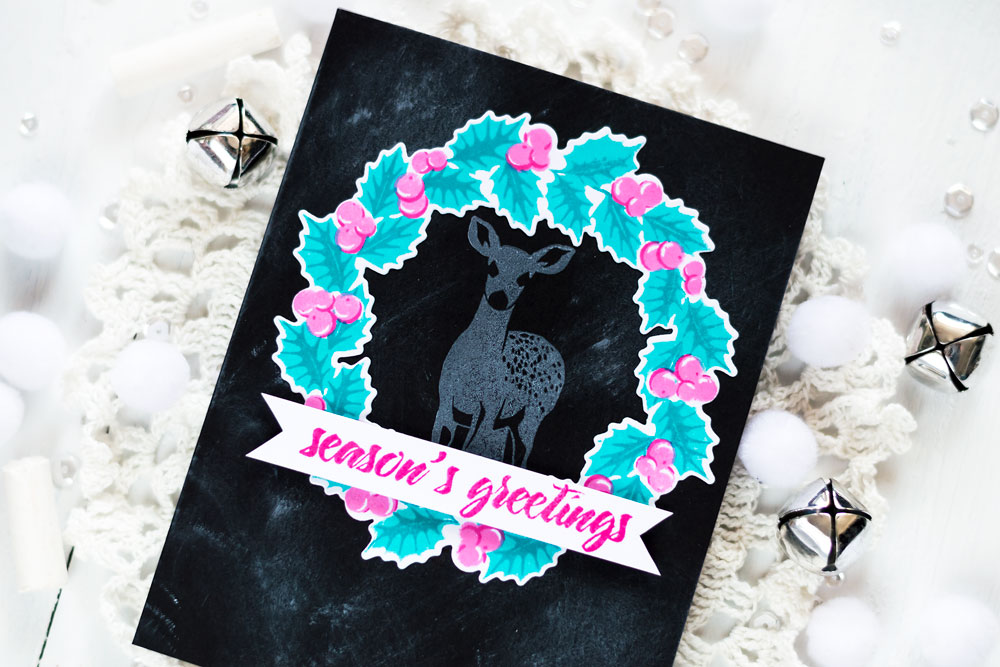 Holiday card with Altenew Peaceful wreath, Modern Deer stamp sets. Card by Svitlana Shayevich